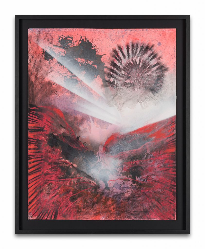 Bettina Scholz: Eagle&Drone 2, spray paint, oil, pastell on paper, 79,5×63,5 cm, 2019