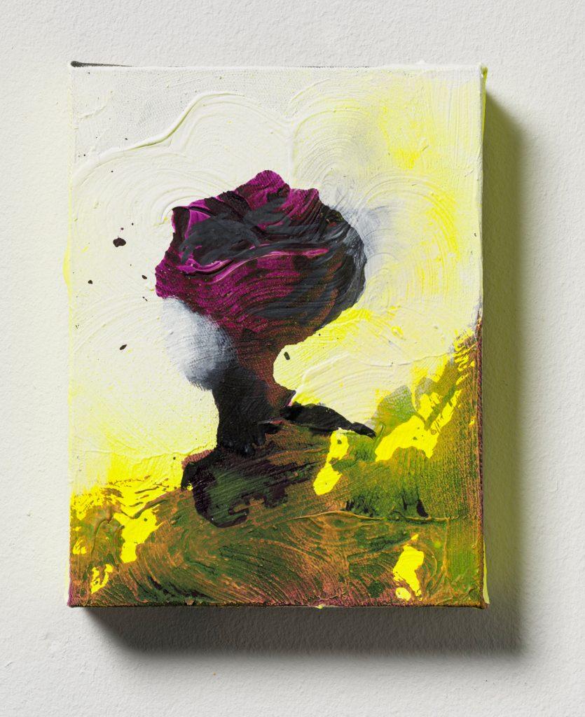 Bettina Scholz: Isabelle in der Wüste, Öl und Acryl auf Leinwand, 20x15x3,5cm, 2019