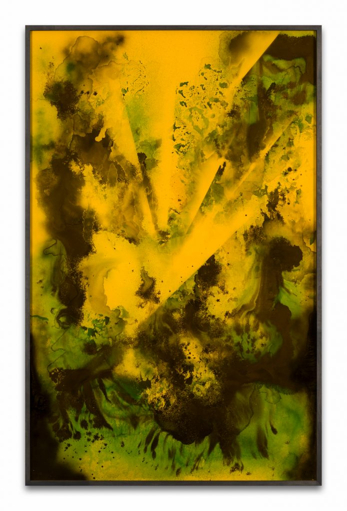 Bettina Scholz: Qualm (after Helena Hauff), spray paint, ink and charcoal on acrylic glass and Hdf board, 232×132 cm, 2019