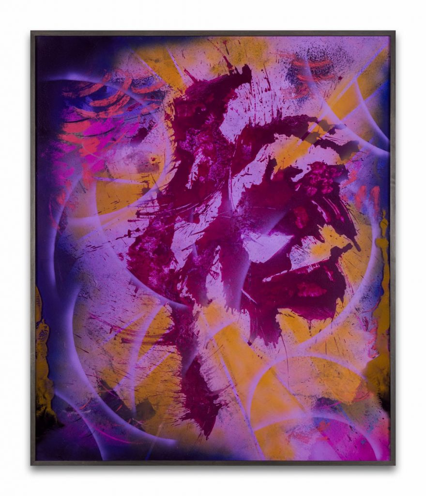 Bettina Scholz: O.T. (V01), spray paint and ink on mdf and acrylic glass, 158 x 132 cm, 202