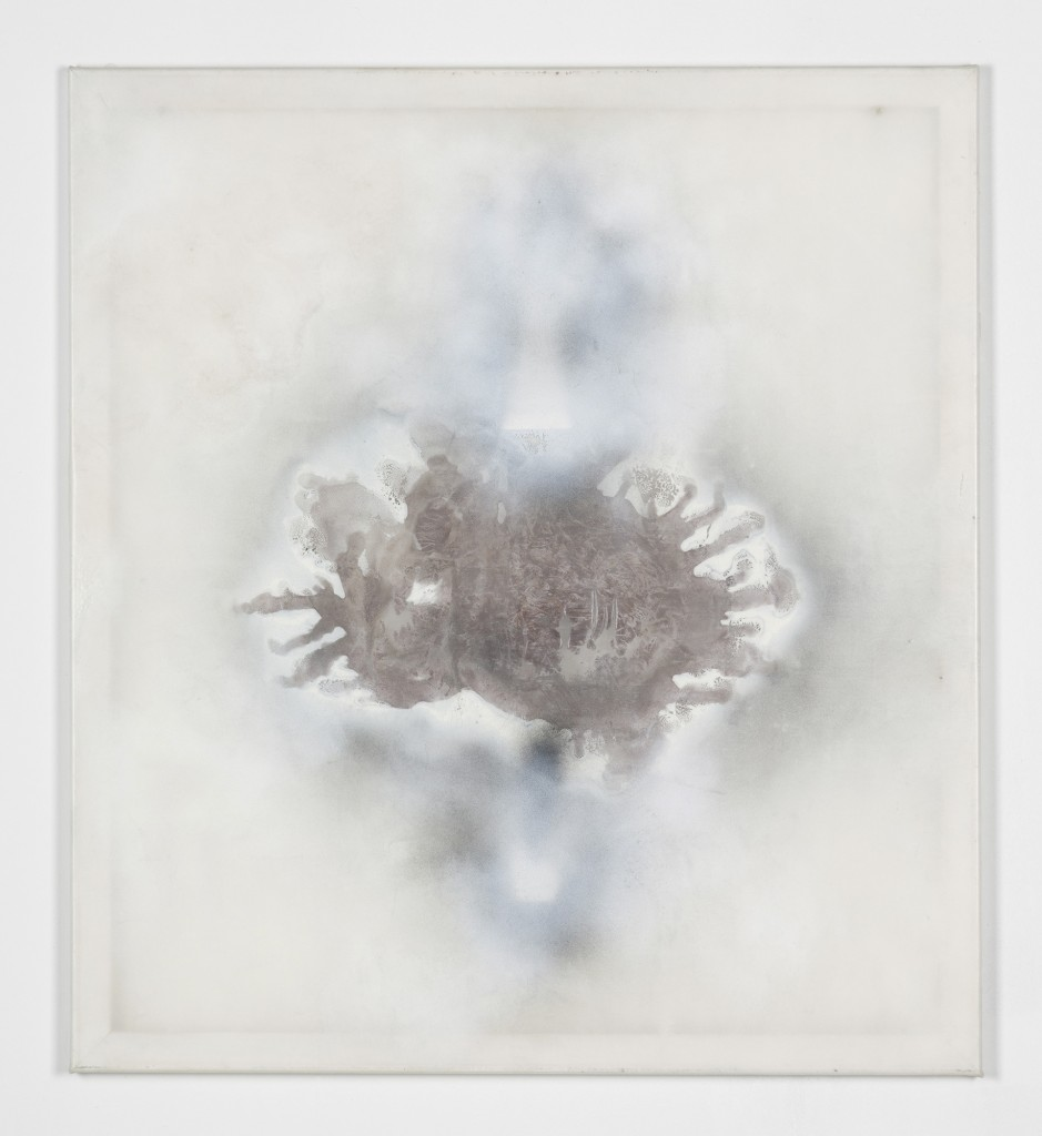 Bettina Scholz: untitled, acrylic paint on transparent silicone, white stretcher frame, 110×100 cm, 2013