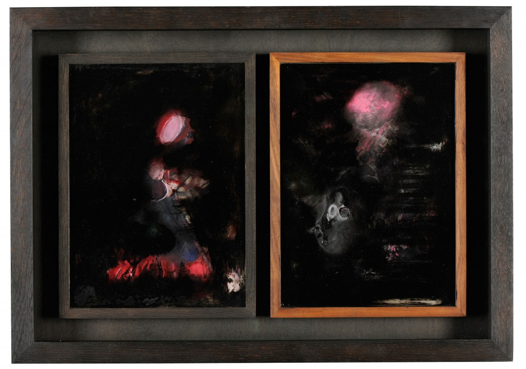 Bettina Scholz: Vitrine, 2 drawings, oil and varnish, framed, 35×45 cm, 2010