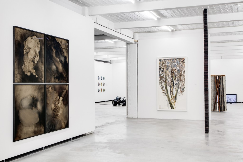 Bettina Scholz: Berlin. Status 2, group exhibition at Kuenstlerhaus Bethanien, Berlin, 2013, left to right: Bettina Scholz, […], Nik Nowak, Michael Wutz, […], photo: Zsu Szabó