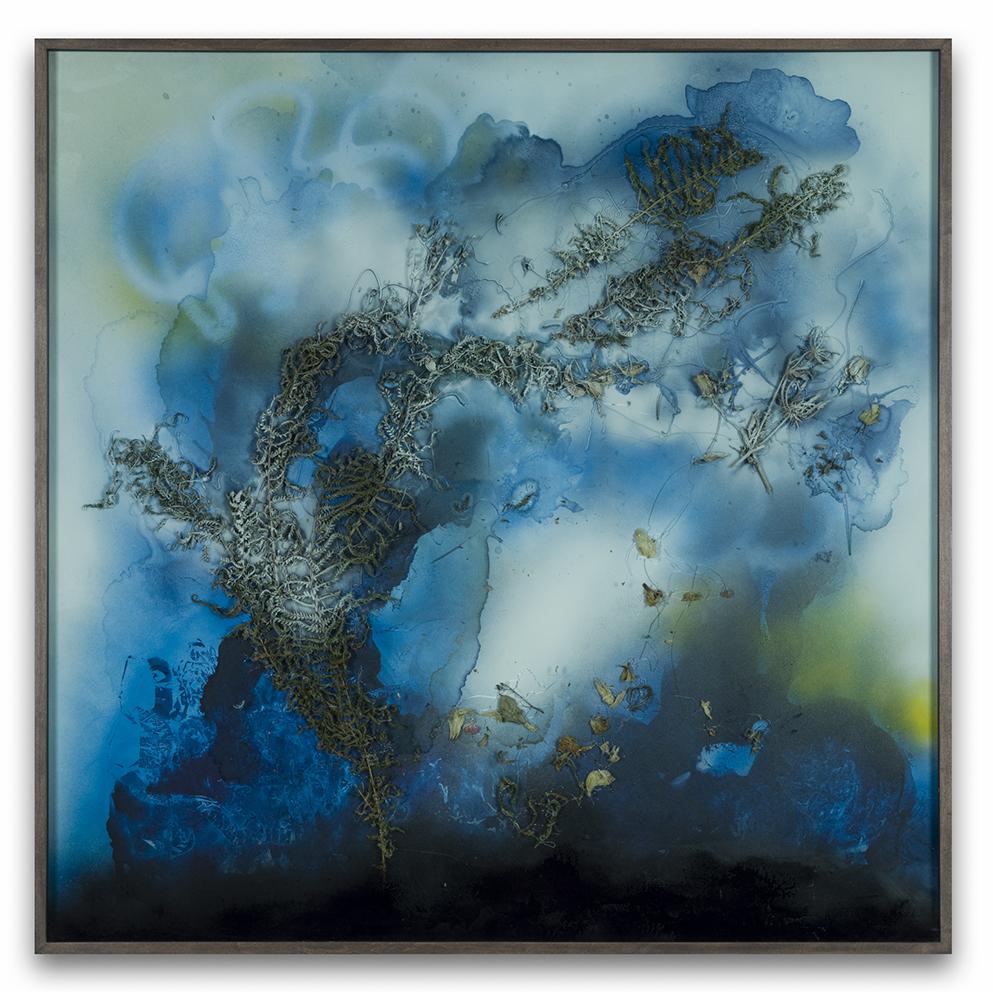 Bettina Scholz: Blaue Farne, 112 x 112 cm, 2018
