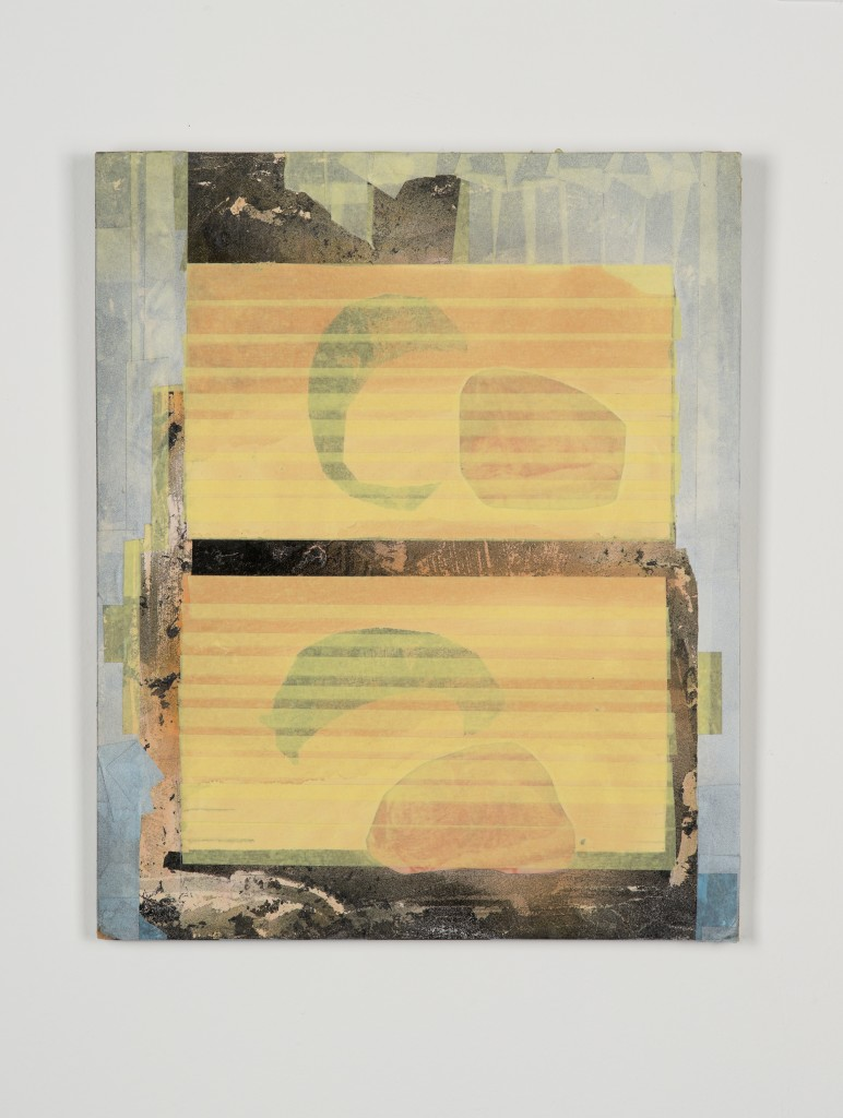 Bettina Scholz: untitled, collage (monotype, tape and acrylic paint) on MDF, 57×44 cm, 2013, photo: Marcus Schneider