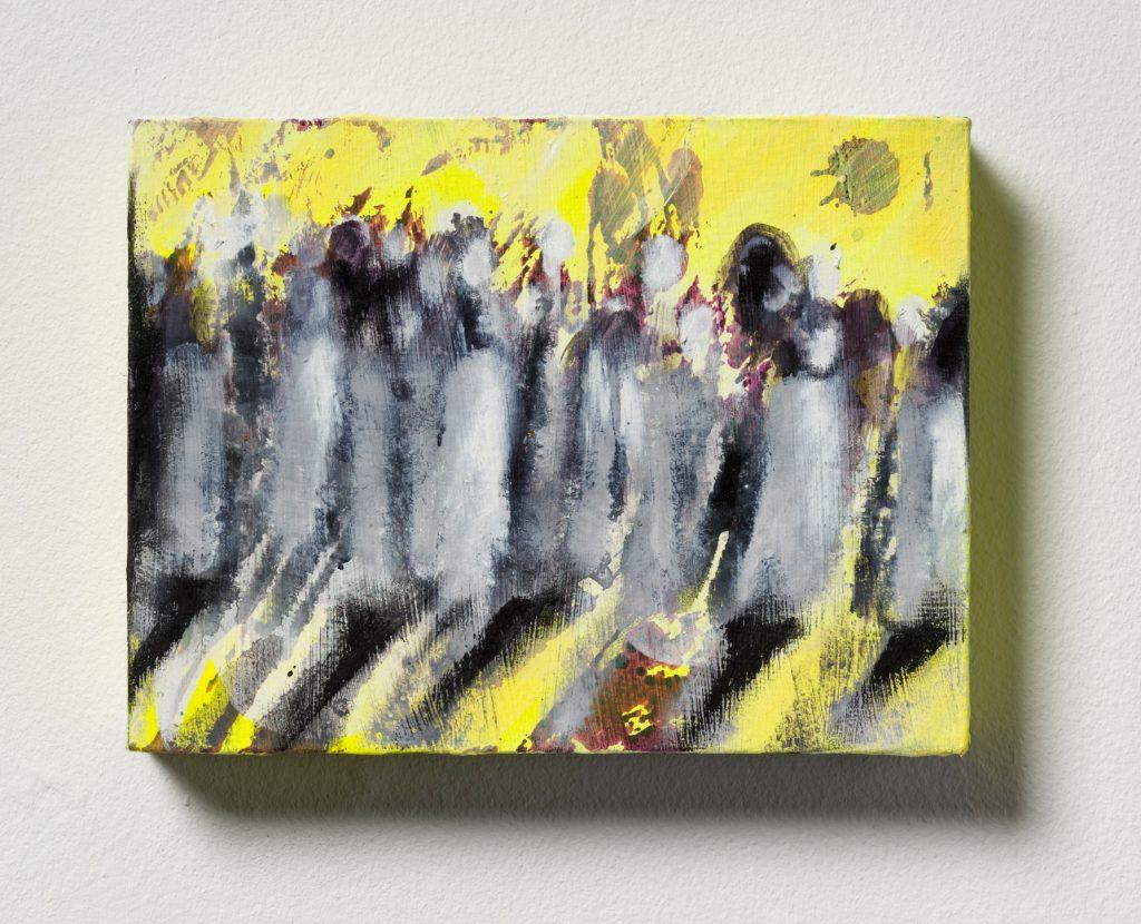 Bettina Scholz: Prozession (London Serie), Öl und Acryl auf Leinwand, 20x15x3,5cm, 2019