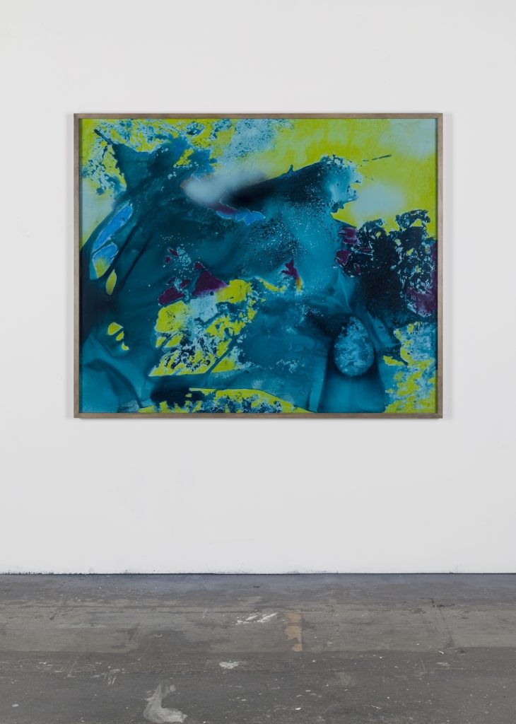 Bettina Scholz: Not yet titled, ink, spray paint and pastel on mdf and acrylic glass, 2020