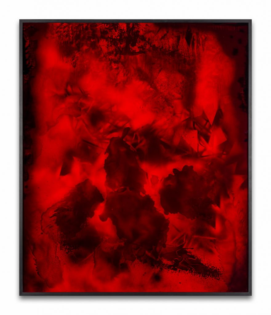 Bettina Scholz: red, red rambler, spray paint and ink on mdf and acrylic glass, 158 x 132 cm, 2020