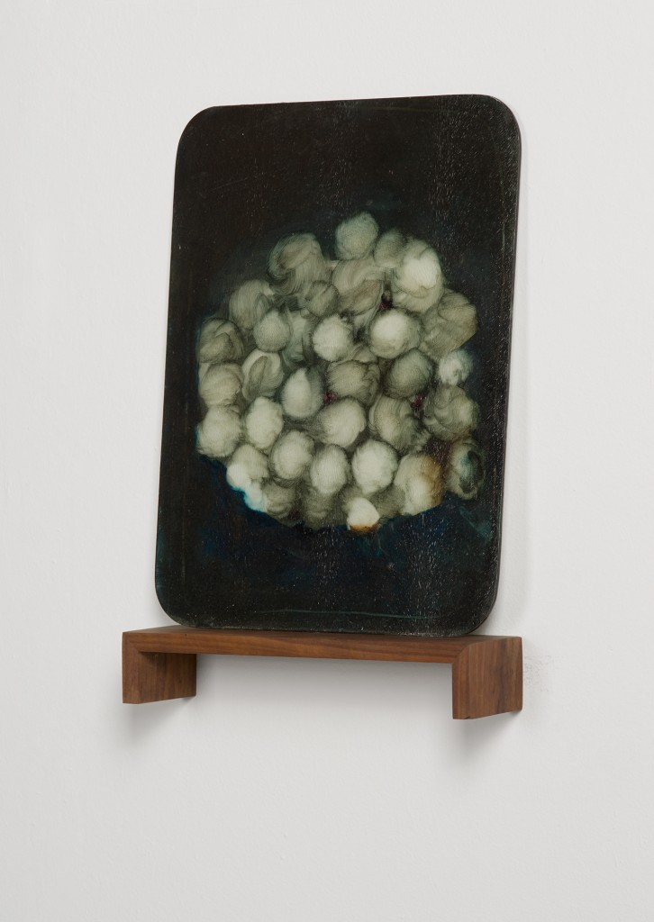 Bettina Scholz: Erste Gläser London, oil on glass (wooden board), 65×45 cm, 2011